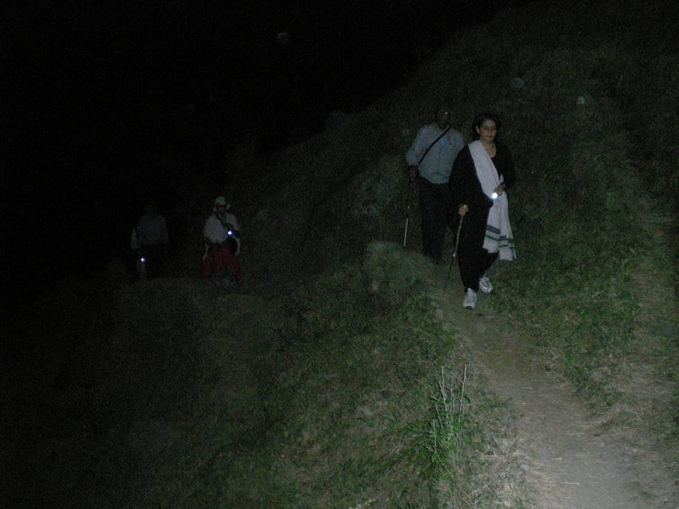Trekking up the mountain at night