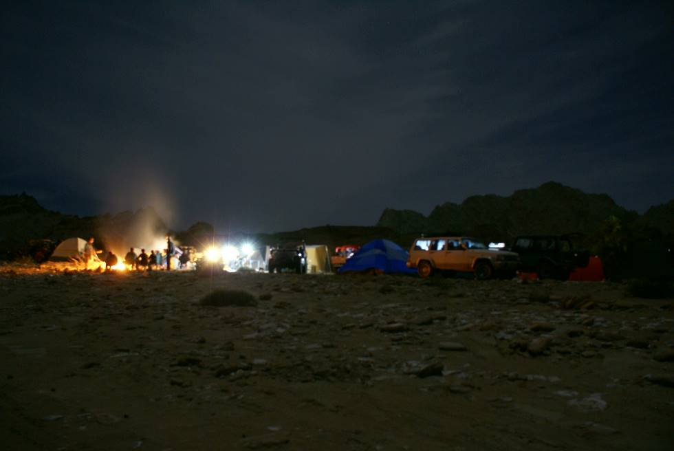 Finally camped, sitting around a large bonfire. The temperature was -2 Celcious at night