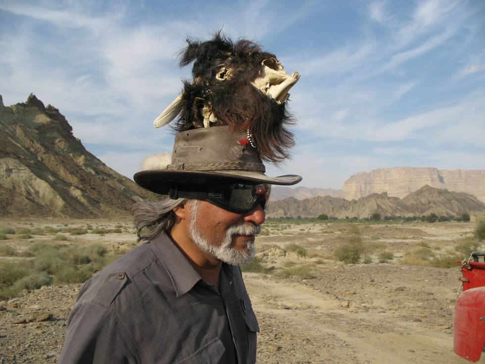 Doc. Mansoor - who else! - with a goat's head on his head