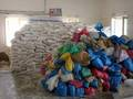 Relief goods piled up