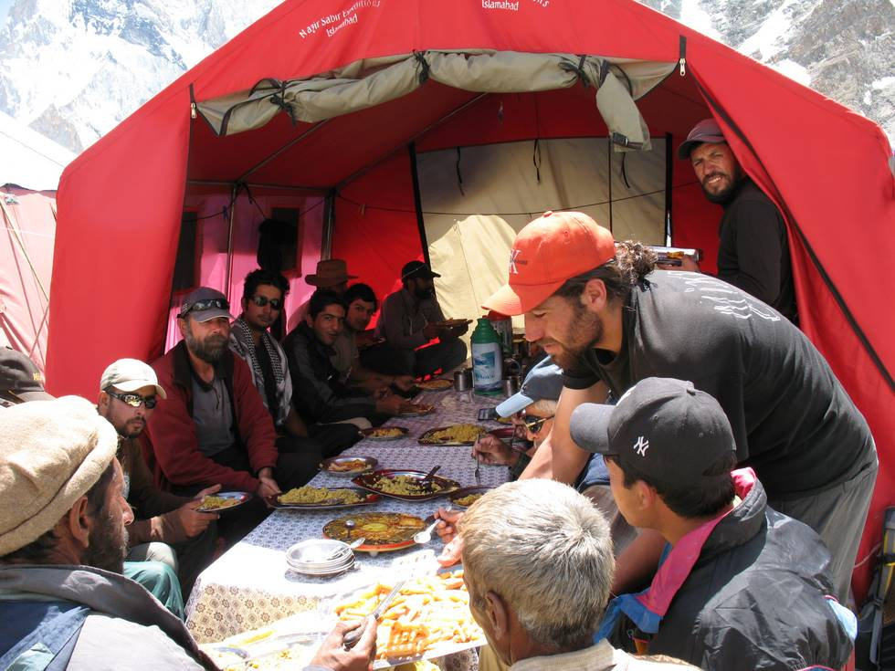 Celebration feast at Broad Peak base camp