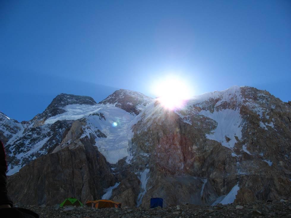 Broad peak basecamp at sunrise