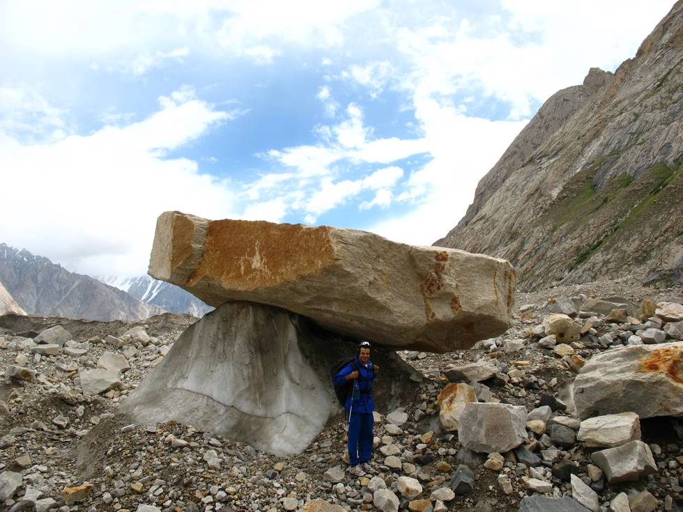 Big rock balanced on ice