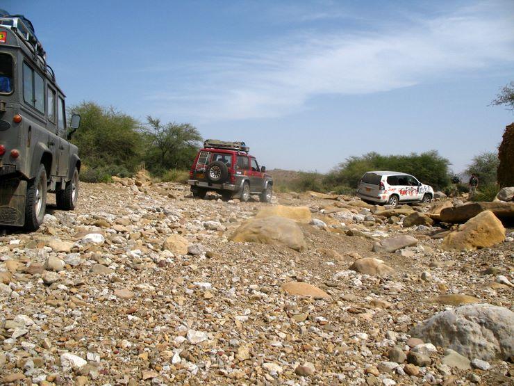 The vehicles make way their way through the boulder strewn territory of Sorh Valley, Baluchistan