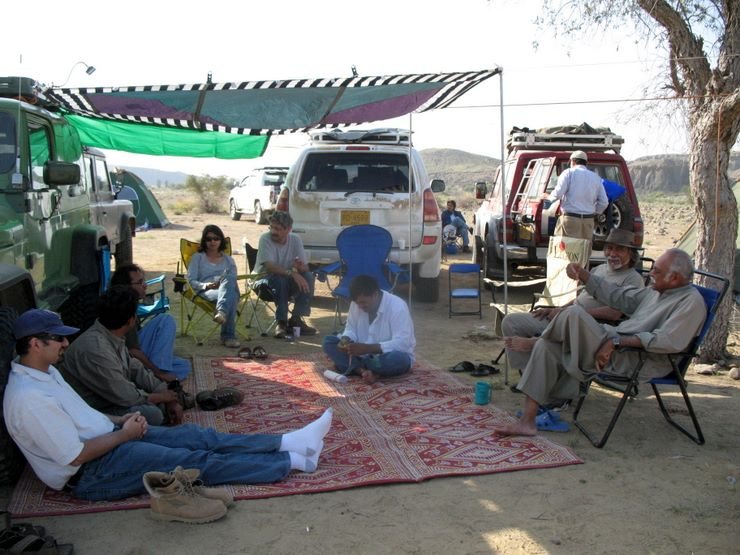 Resting under the shade of TM's car tent in Sorh Valley, Baluchistan